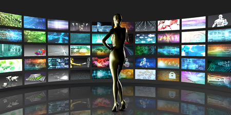 Video Streaming as Technology Concept with Lady Watching Banque d'images