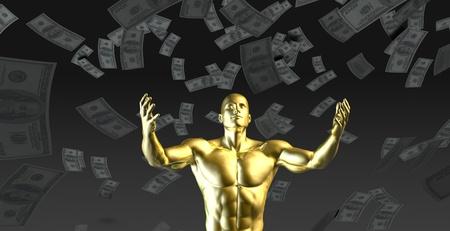 Het creëren van winst of Money winst gemakkelijk met Man Stockfoto