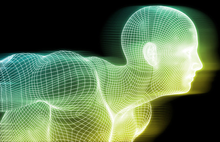 人間のワイヤ フレームとデジタル意識システムのコンセプト