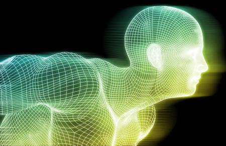 sistemas: Wireframe Humana y Conciencia Digital Concept System Foto de archivo
