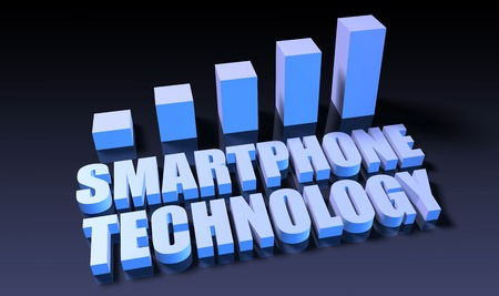 Smartphone technology graph chart in 3d on blue and black Фото со стока