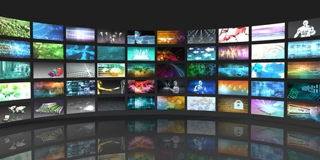 multi media: Television Production Technology Concept with Video Wall