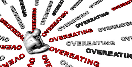 overeating: Suffering From Overeating with a Victim Crying Male