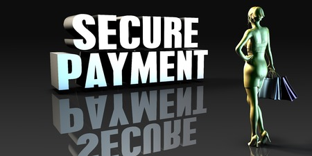secure payment: Secure Payment as a Concept with Lady Holding Shopping Bags Stock Photo