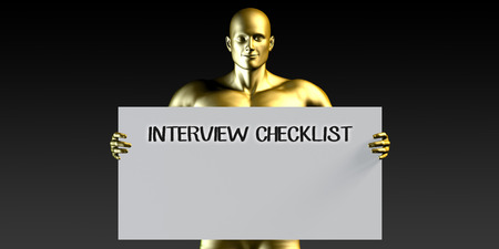 checklist: Interview Checklist with a Man Holding Placard Poster Template Stock Photo