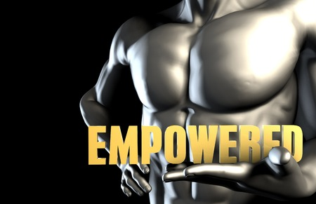 empowered: Empowered With a Business Man Holding Up as Concept