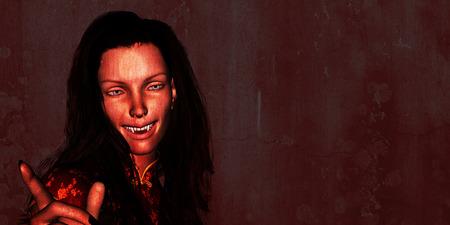 怖い衣装で魅力的な女性と幸せなハロウィーン
