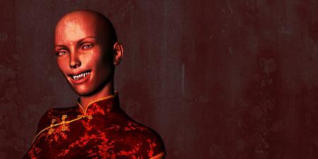 disturbing: Horror and Creepy Background with Vampire Woman Art Stock Photo
