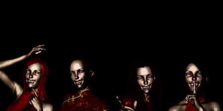 naughty halloween with scary girls or ladies as vampires stock photo 46047783 - Naughty Halloween