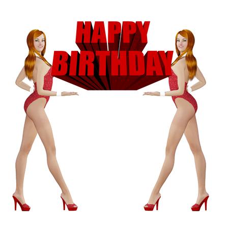 매력적인 암컷의 생일 축하 카드 스톡 콘텐츠