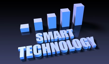 Smart technology graph chart in 3d on blue and black