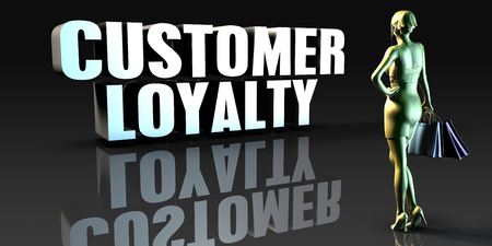 Customer Loyalty as a Concept with Lady Holding Shopping Bags Stock fotó