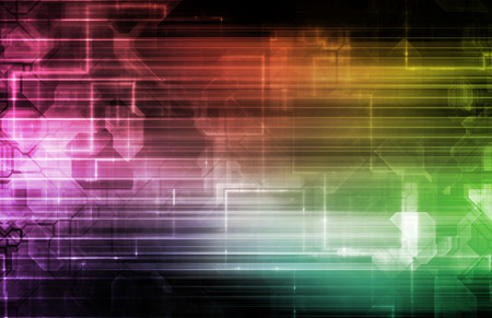 techno: Science Background With Glowing Techno Lines Art Stock Photo