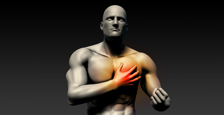 heart failure: Heart Attack with Man Clutching His Chest