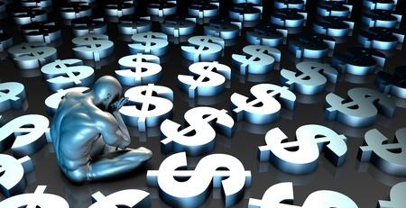 woe: Weak US Dollar or Weakening Finances and Man Crying Stock Photo