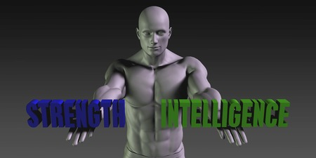 choosing: Strength vs Intelligence Concept of Choosing Between the Two Choices Stock Photo
