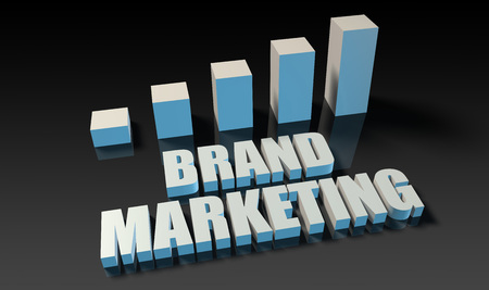 experienced: Brand marketing graph chart in 3d on blue and black