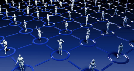 network people: Social Media Network and Interaction Between People Art Stock Photo
