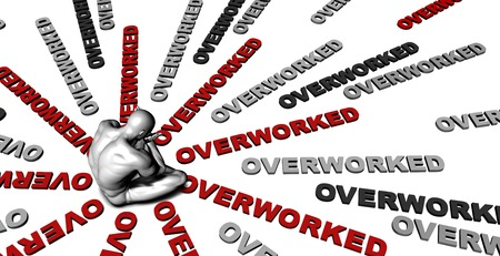 overwhelming: Suffering From Overworked with a Victim Crying Male