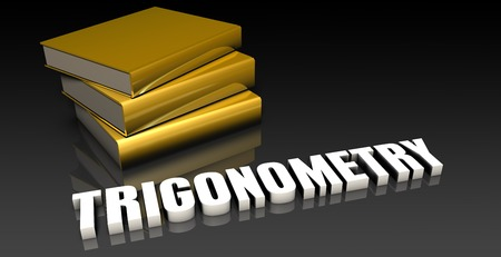 subject: Trigonometry Subject with a Pile of Education Books Stock Photo
