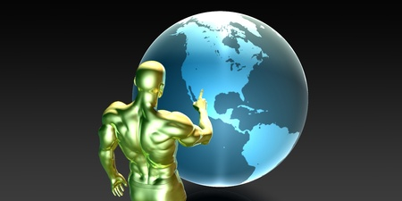 localization: Businessman Pointing at North America Business Investment