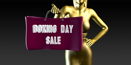 boxing day sale: Boxing Day Sale with a Lady Holding Shopping Bags