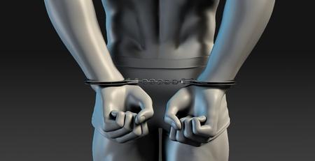 punishment: 3D Illustration of a Prisoner and Punishment concept Stock Photo