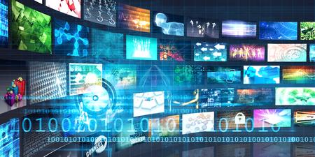 zábava: Digitální multimediální zábavu a Internet Business Concept Reklamní fotografie