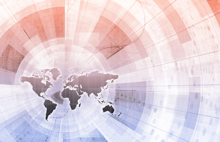 supply chain: Global Integration Network with World Map as Art Stock Photo
