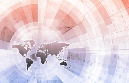 Global Integration Network with World Map as Art Banco de Imagens