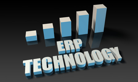 experienced: Erp technology graph chart in 3d on blue and black Stock Photo