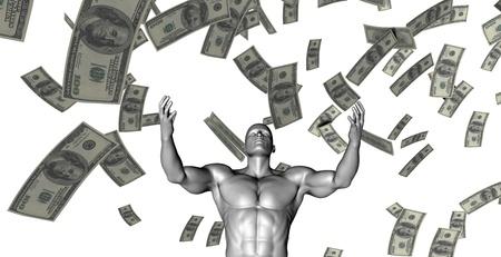 banco dinero: El hombre de negocios feliz bajo una lluvia de dinero en efectivo y