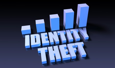 identity theft: Identity theft graph chart in 3d on blue and black Stock Photo