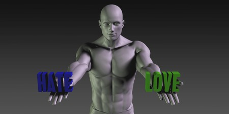 choosing: Hate vs Love Concept of Choosing Between the Two Choices