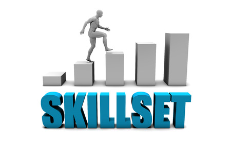 skillset: Skillset 3D Concept  in Blue with Bar Chart Graph