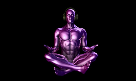 levitation: Man with Headphones Listening to Music Meditating in 3d