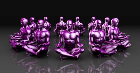 hombre sentado: Clase de yoga como una forma de relajación