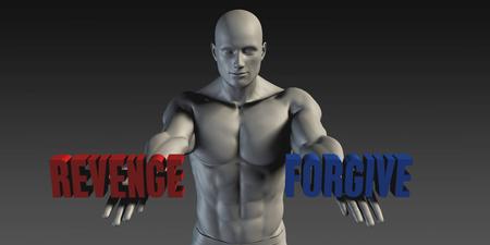 revenge: Perdonar o venganza como Versus selecci�n de diferentes Creencia Foto de archivo