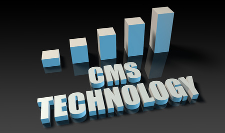 cms: Cms technology graph chart in 3d on blue and black