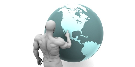 emerging economy: Business Expansion into North America Continent Concept Stock Photo