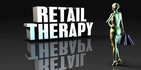 retail therapy: Retail Therapy as a Concept with Lady Holding Shopping Bags
