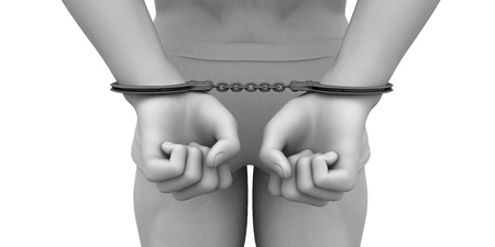 Criminal Justice System of Man Arrested with Handcuffs 스톡 콘텐츠