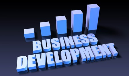 business development: Business development graph chart in 3d on blue and black