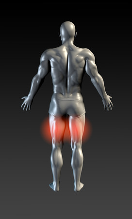 hamstring: Hamstring Injury with Red Glow on Area Series Stock Photo