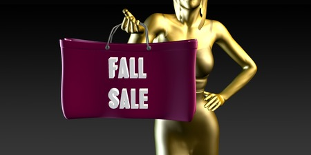 lady shopping: Fall Sale with a Lady Holding Shopping Bags Stock Photo