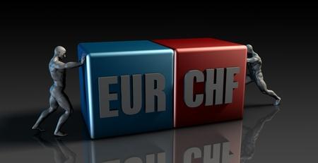 franc: EUR CHF Currency Pair or European Euro vs Swiss Franc Stock Photo