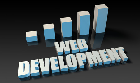 experienced: Web development graph chart in 3d on blue and black Stock Photo
