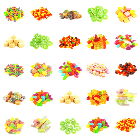indulgence: Background of Colorful Candy of Assorted Types Isolated Stock Photo