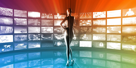 Media Technologies Concept as a Video Wall Background Stock Photo