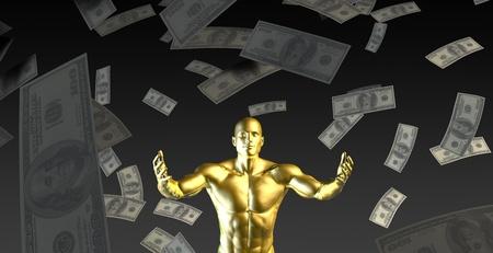 cash money: Happy Businessman Under a Rain of Cash and Money